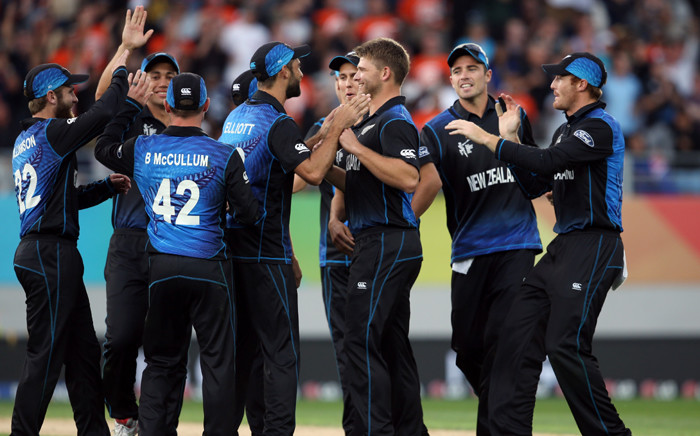 The New Zealand cricket team celebrate during semifinal match against the Proteas during the 2015 Cricket World Cup on 24 March. Picture: AFP