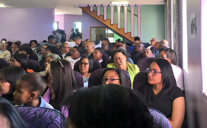 Mourners gather at the Afm Newclare Church to bid farewell to Heather Petersen in Westbury. Picture: Katleho Sekhotho/EWN