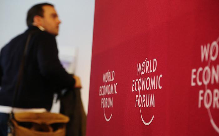 A man walks through the registration hall of the 2016 World Economic Forum in Davos, Switzerland. Picture: Reinart Toerien/EWN.