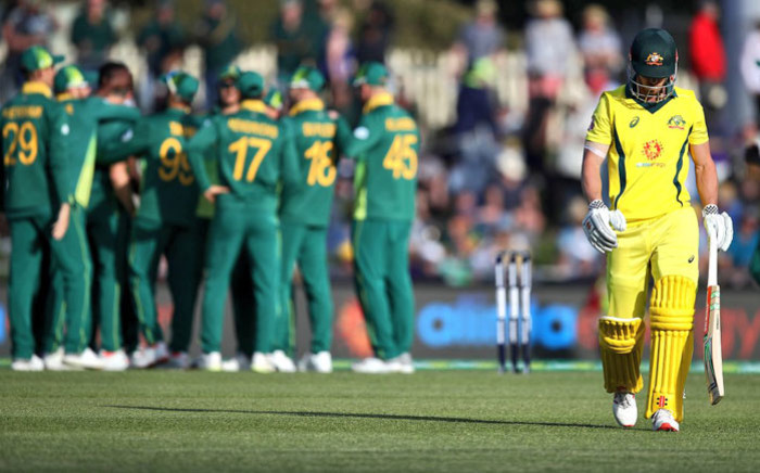 The Proteas celebrate the fall of an Australian wicket in the third ODI at Hobart on 11 November 2018. Picture: @OfficialCSA/Twitter