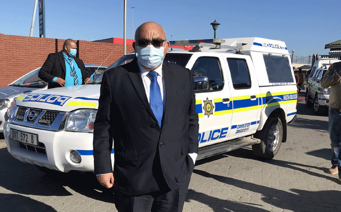 Western Cape Community Safety MEC Albert Fritz at the Khayelitsha police station on 17 May 2021 after the murder of 13 people and the arrest of 11 suspects. Picture: Lizell Persens/Eyewitness News