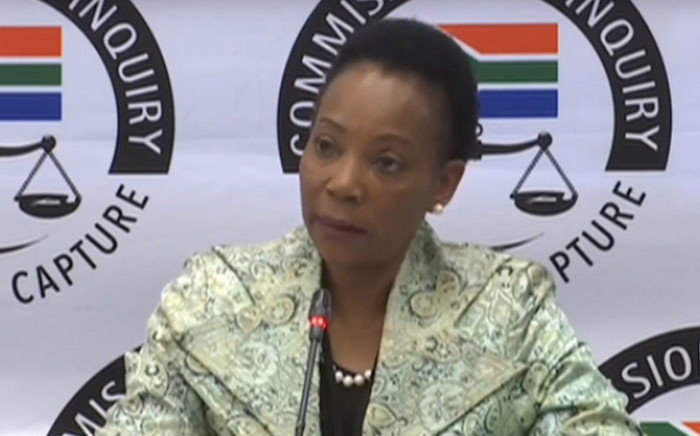 A screengrab of former South African Airways (SAA) human resources general manager Mathulwane Emily Mpshe appearing at the Zondo Commission on 1 July 2019.