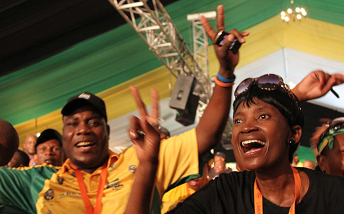 Delegates celebrate after the announcement of the ANC's new Top Six in Mangaung. Picture: Taurai Maduna/EWN.