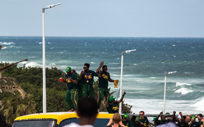 The Springboks in East London on Saturday, 9 November, during their Webb Ellis Cup tour. The Boks are currently on a national tour showcasing their trophy after being crowned the 2019 Rugby World Cup champs in Japan last week. Picture: Kayleen Morgan?EWN