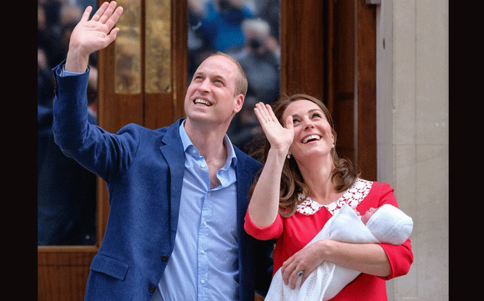 The Duke and Duchess of Cambridge and their newborn son on 23 April 2018. Picture: Kensington Palace/Twitter