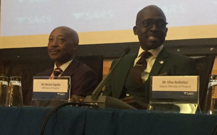 South African Revenue Service (Sars) Commissioner Tom Moyane (left) and Finance Minister Malusi Gigaba at a Sars press briefing. Picture: Gia Nicolaides/EWN