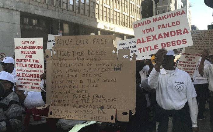 A group of elderly people from the Alexandra township have staged a protest outside Luthuli House demanding title deeds. Picture: EWN