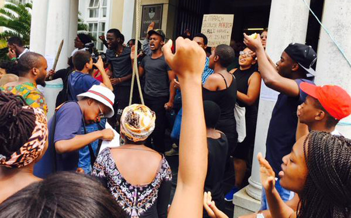 FILEl: Rhodes University students protesting on campus ahead of media address on 23 March 2015. Picture: Masa Kekana/EWN.