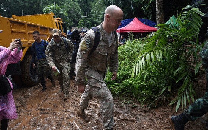 US military personnel arrive at Khun Nam Nang Non Forest Park near Than Luang cave in Chiang Rai province on 28 June, 2018 to assist in rescue operation for a missing children's football team and their coach. Picture: AFP