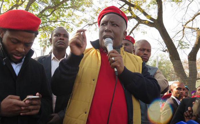EFF leader Julius Malema and party spokesperson Mbuyiseni Ndlozi in Marikana. Picture: Gia Nicolaides/EWN.