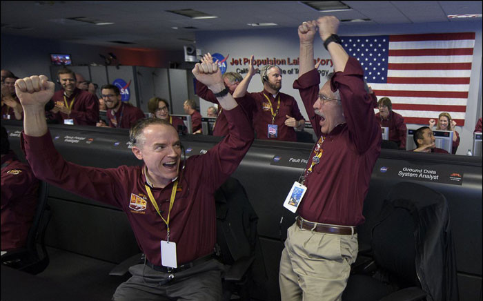 Nasa Insight team team members celebrate after getting confirmation of a successful landing on Mars. Picture: @NASA/Twitter