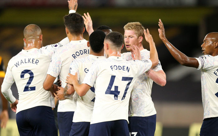 Manchester City players celebrate a goal against Wolverhampton Wanderers during their English Premier League match on 21 September 2020. Picture: @premierleague/Twitter