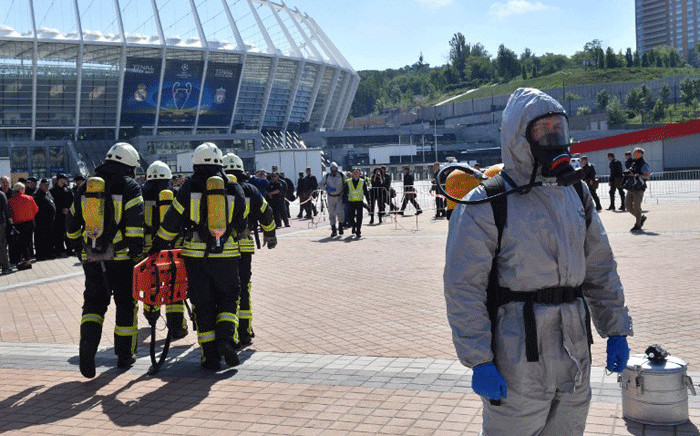 File: Emergency services take part in a police drill at the NSC Olimpiyskiy Stadium in Kiev on May 15, 2018. Picture: AFP.