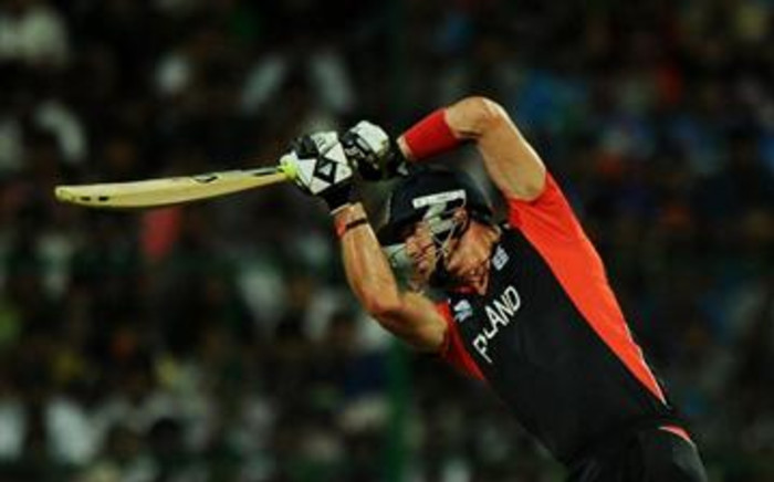 England cricketer Kevin Pietersen plays a shot at the ICC Cricket World Cup 2011 on 27 February 2011. Picture: Dibyangshu Sarkar/AFP
