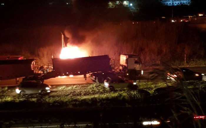 A burning truck on the N3 near Durban. Picture: Supplied