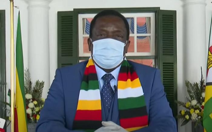 A YouTube screengrab of Zimbabwe's President Emmerson Mnangagwa addressing the nation on 4 August 2020.