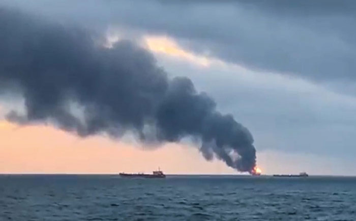 An image grab taken from AFP TV on 21 January 2019 shows a burning ship after a fire engulfed at two gas tankers in the Black Sea off Crimea. Picture: AFP