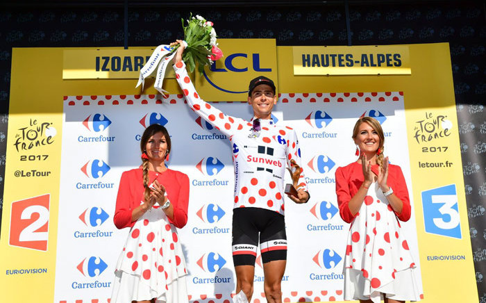 Warren Barguil celebrates his Tour de France stage win. Picture: @LeTour/Twitter