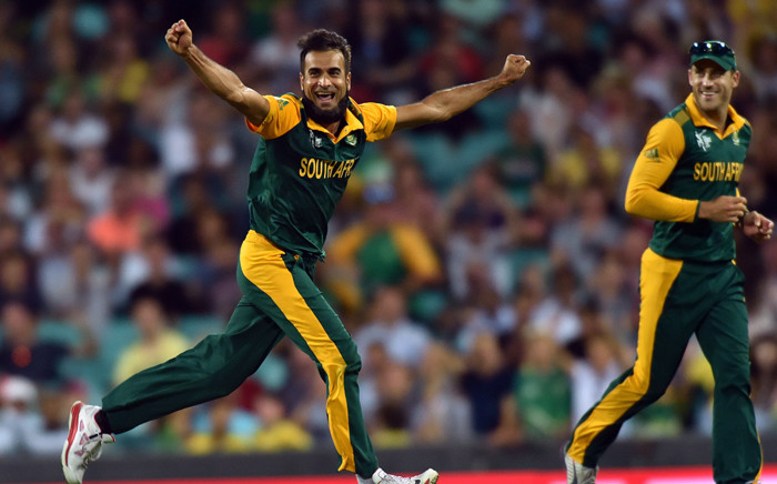 FILE: Imran Tahir celebrates his wicket of West Indies batsman Andre Russell (not pictured) during the 2015 Cricket World Cup Pool B match between South Africa and the West Indies at the Sydney Cricket Ground on 27 February 2015. AFP