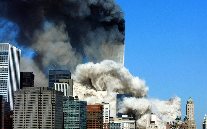 In this file photo taken on September 11, 2001, smoke billows after the first of the two towers of the World Trade Center collapses. Picture: Henny Ray Abrams / AFP