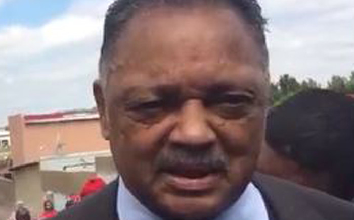 American Civil Rights activist Jesse Jackson outside the home of Winnie Madikizela-Mandela on Friday 13 April 2018. Picture: Screengrab