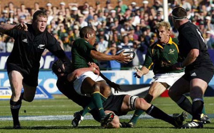 FILE. The Springboks have taken a 7-6 lead into half time against the All Blacks in the Rugby Championship. Picture: AFP