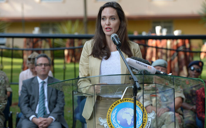 UNHCR Special Envoy Angelina Jolie, addresses International Peace Support Training Centre (IPSTC) staff and other attendees on 20 June 2017 in Nairobi during a training on the sexual violence prevention in conflicts. Picture: AFP.