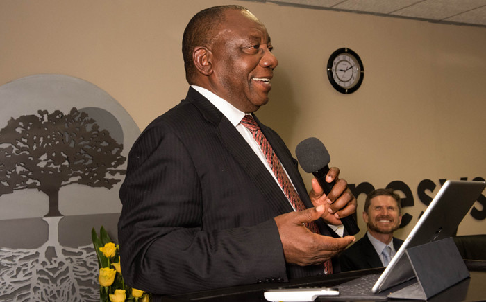 Deputy president Cyril Ramaphosa receiving a Regenesys Business School Lifetime Award for Leadership and addressing the awards ceremony at the Regenesys Campus in Sandton, Johannesburg on 22 June 2017. Picture: GCIS.