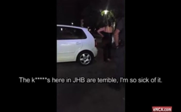 This screengrab via an eNCA video shows the woman who called Johannesburg police officers the k-word.