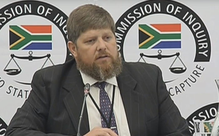 A screengrab of Eskom official Gert Opperman appearing at the Zondo Commission on 8 March 2019.