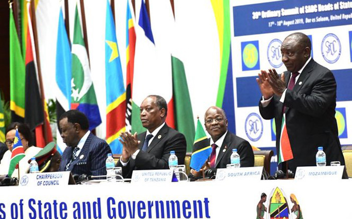 President Cyril Ramaphosa (R) at the 39th SADC Summit in Tanzania. Picture: @CyrilRamaphosa/Twitter
