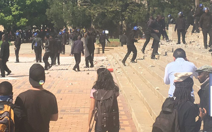 Wits University students clash with police and campus security during the #Fees2017 protests. Picture/: Clement Manyathela/EWN.
