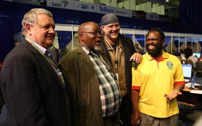 FILE: ANC Secretary General Gwede Mantashe shares a moment with FF Plus leader Pieter Mulder, Piet Croukamp and COPE's Willie Madisha. Picture: Christa Eybers/EWN.