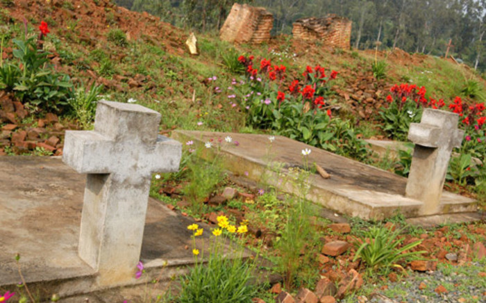 A mass grave and in the ruins of the church of Notre Dame de la Visitation in Nyange in Rwanda where, during the 1994 genocide, some 2,000 Tutsi were killed in April 1994. Picture: AFP.