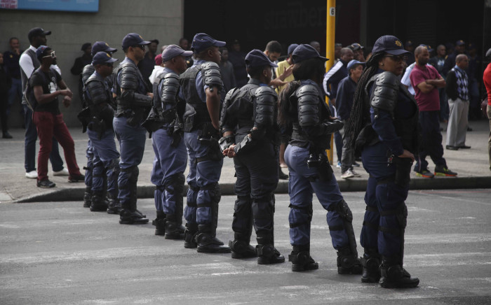FILE: SAPS members at a protest in Cape Town. Picture: Cindy Archillies/EWN