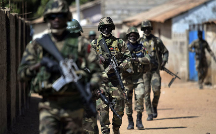 Senegalese soldiers who are part of ECOWAS (Economic Community of West African States) forces patrol in Barra, the Gambia on January 22, 2017. Picture: AFP