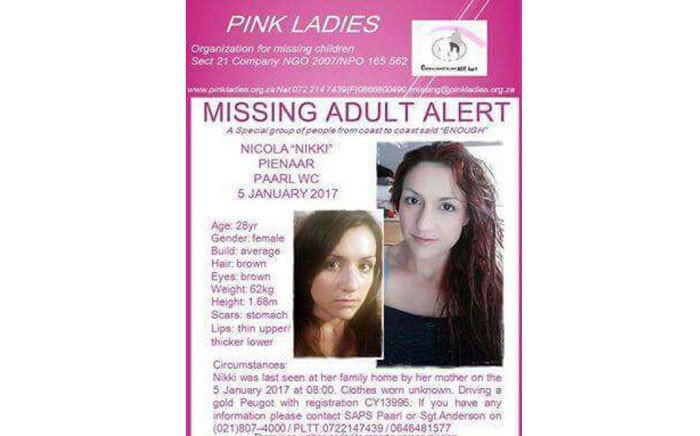 Nicola Pienaar was reported missing in January 2017. Picture: Facebook.com/Pink Ladies.