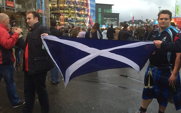 Disappointed Scottish fans proudly display their national flag after their RWC quarterfinal defeat to Australia. Picture: Vumani Mkhize/EWN.