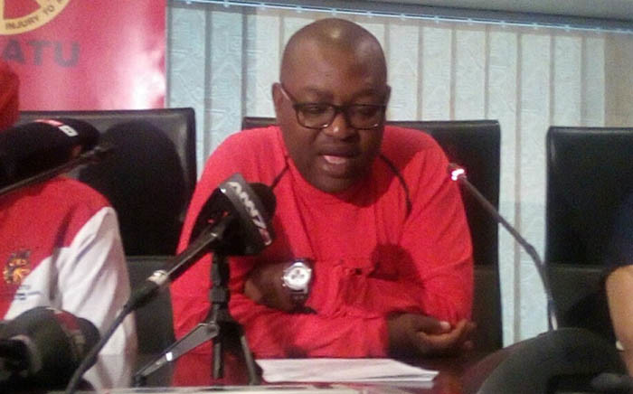 Gauteng provincial secretary Dumisani Dakile briefing the media about the trade union's planned country-wide strike against state capture. Picture: @_cosatu/Twitter