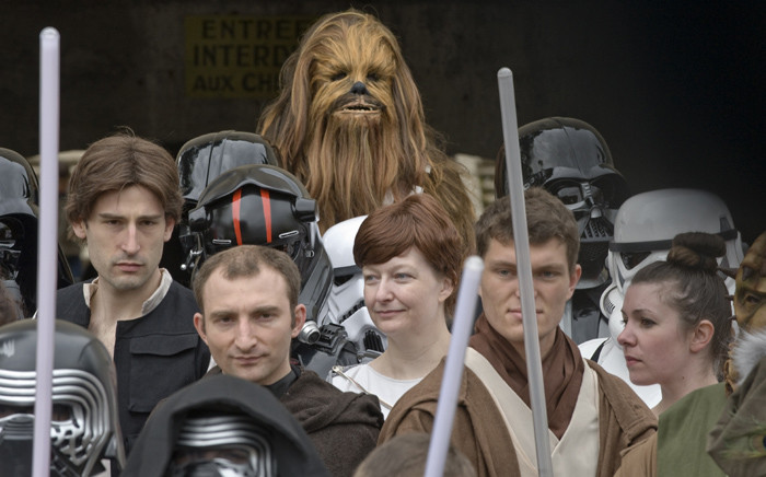 People wearing costumes take part in a 'Star Wars' convention in France. Picture: AFP.