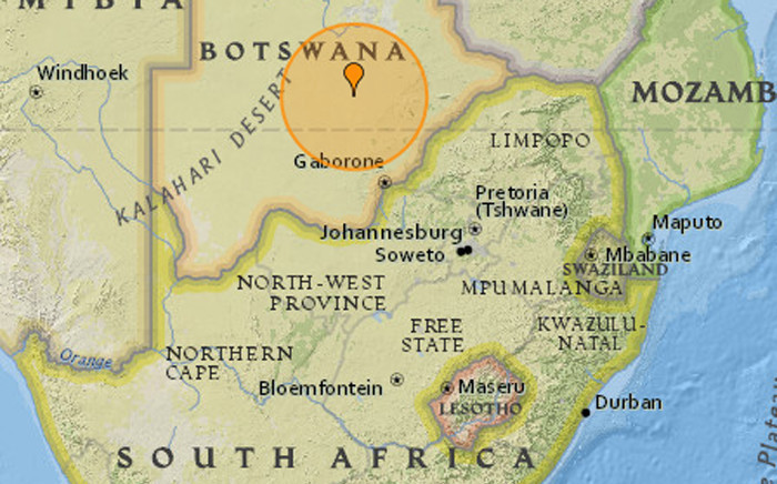 A strong earthquake struck in a remote region of Botswana on Monday 3 April 2017, causing tremors in neighbouring South Africa. Picture: earthquaketrack.com