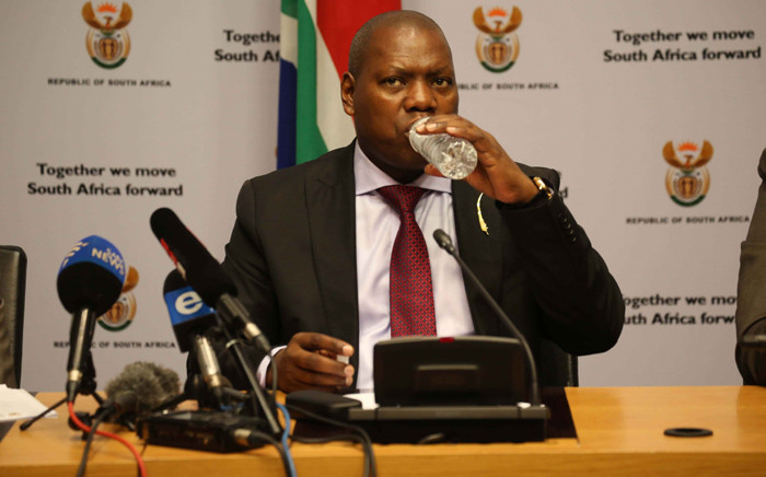 FILE: Cooperative Governance and Traditional Affairs Minister Zweli Mkhize addresses the media in Parliament on behalf of government's task team on the water crisis. Picture: Cindy Archillies/EWN