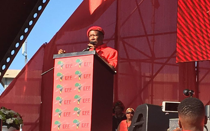 EFF leader Julius Malema addresses the crowd at the party's fourth anniversary in Durban on Saturday afternoon. Picture: Ziyanmda Ngcobo/EWN