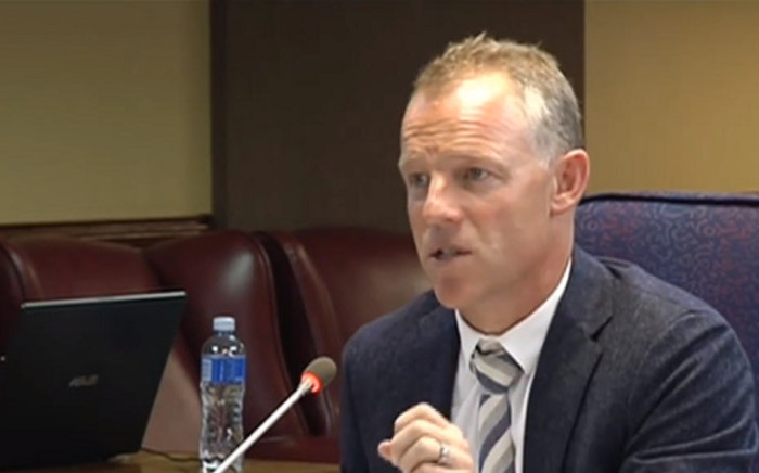 A screenshot image of Freedom Under Law counsel advocate Max du Plessis testifying at the Mokgoro Inquiry on 28 February 2019.  Picture: SABCNews/Youtube