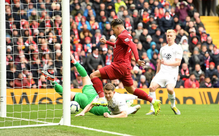 Liverpool's Roberto Firmino scores against Burnley in their English Premier League match at Anfield, Liverpool on 10 March 2019. Picture: @LFC/Twitter