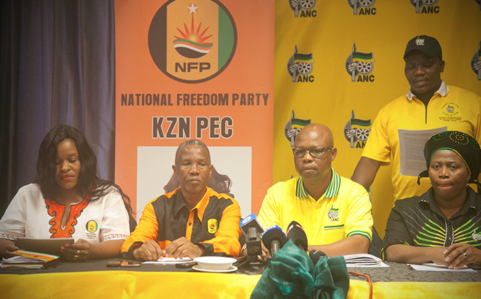 FILE: KZN leadership of the NFP and the ANC briefing media on the agreement to support ANC in local elections. Picture: EWN