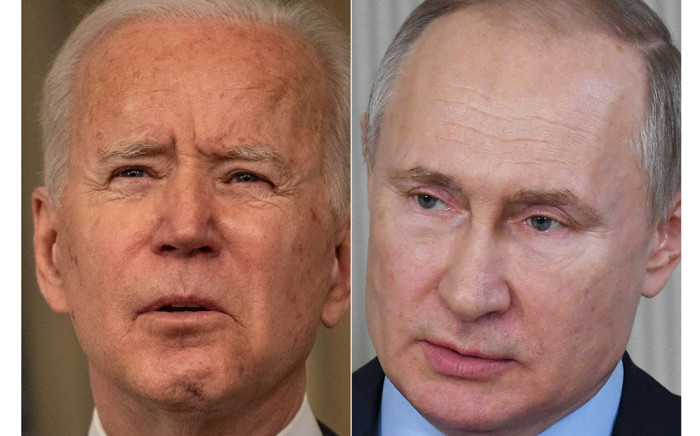 A combination of photos of US President Joe Biden on 15 March 2021 and Russian President Vladimir Putin on 6 March 2020. Picture: Eric BARADAT, Alexey NIKOLSKY/AFP/Sputnik