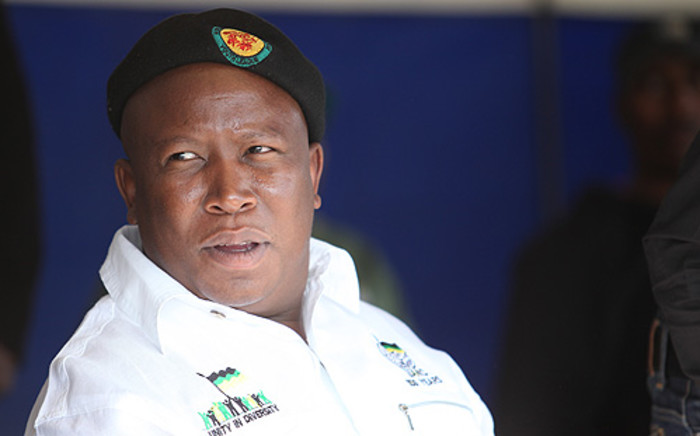 Julius Malema addressing striking workers from the Beatrix Mine in and the members of the community at the Meloding Stadium in the Free State Province on 9 October, 2012. Picture: Taurau Maduna/Eyewitness News.