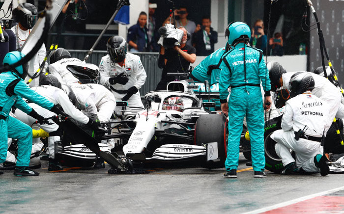 Mercedes driver Lewis Hamilton pits during the German Grand Prix on 28 July 2019. Picture: @MercedesAMGF1/Twitter