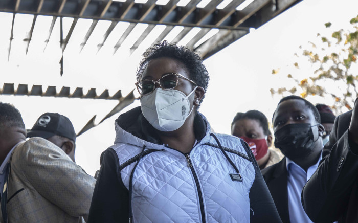 Acting Health Minister Mmamoloko Kubayi at the vaccination site by Moses Mabinde stadium in KwaZulu-Natal. Picture: Abigail Javier/Eyewitness News